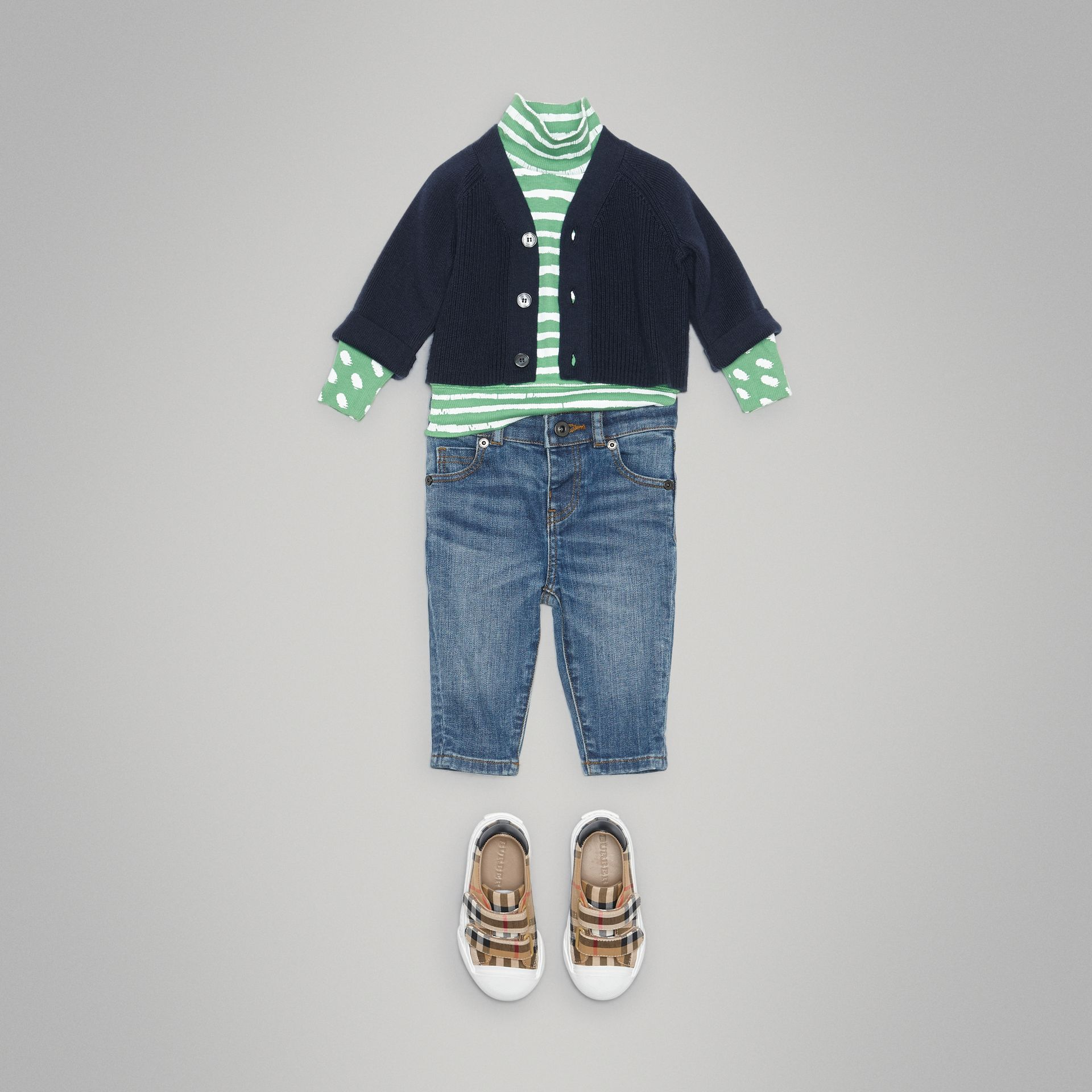 Cashmere Cotton Knit Cardigan in Navy - Children | Burberry Australia - gallery image 2
