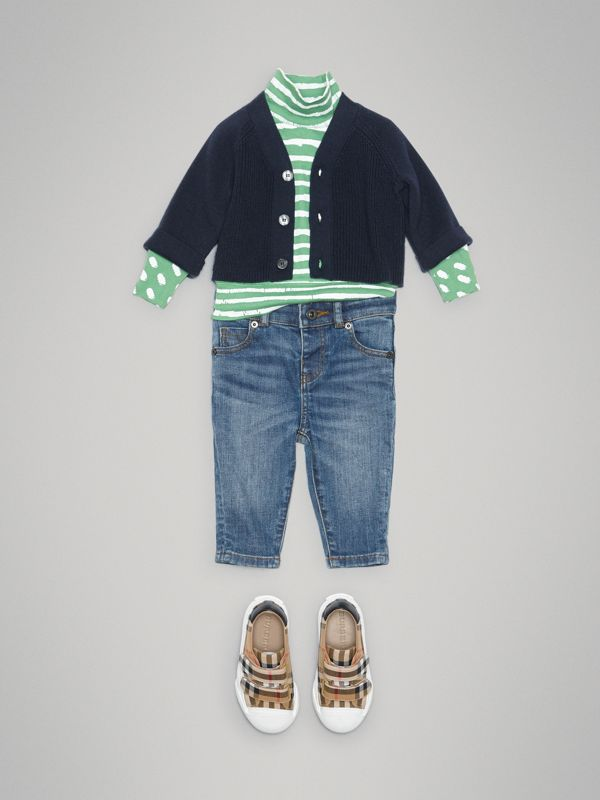 Cashmere Cotton Knit Cardigan in Navy - Children | Burberry - cell image 2