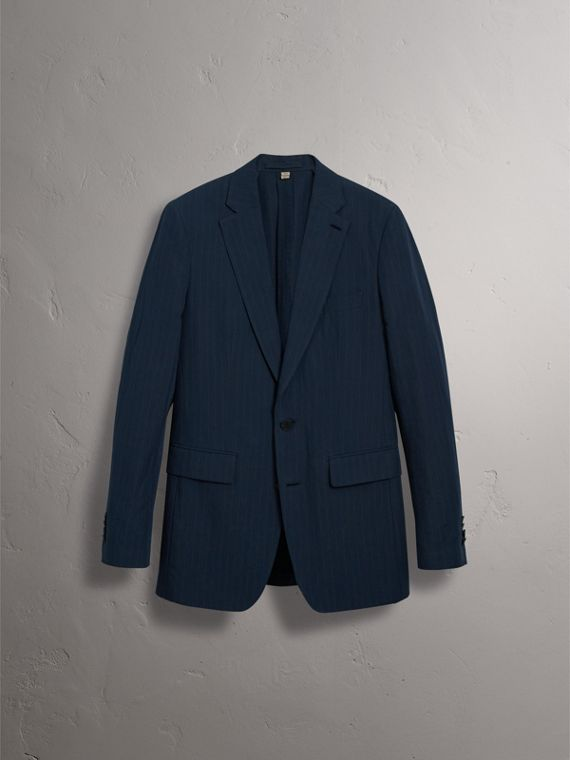 Slim Fit Pinstripe Ramie Cotton Suit in Navy - Men | Burberry Australia - cell image 3