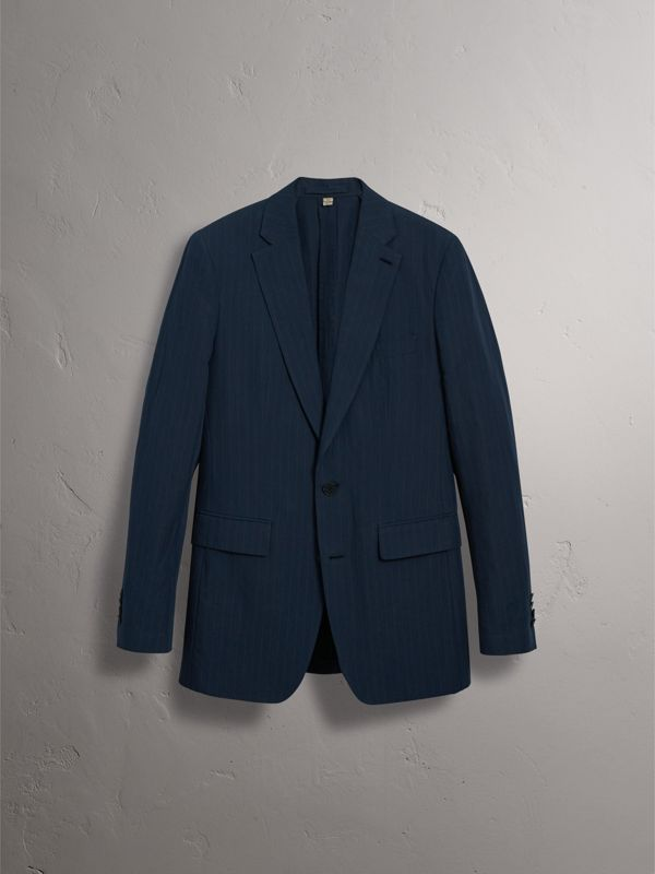 Slim Fit Pinstripe Ramie Cotton Suit in Navy - Men | Burberry Singapore - cell image 3