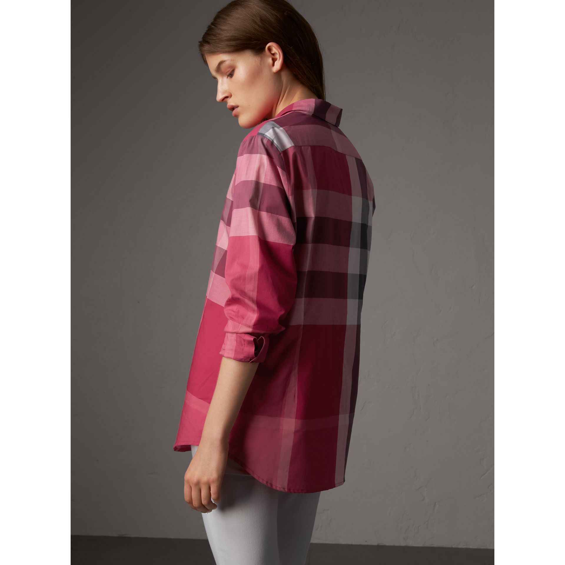 Check Cotton Shirt in Crimson Pink - Women | Burberry - gallery image 3