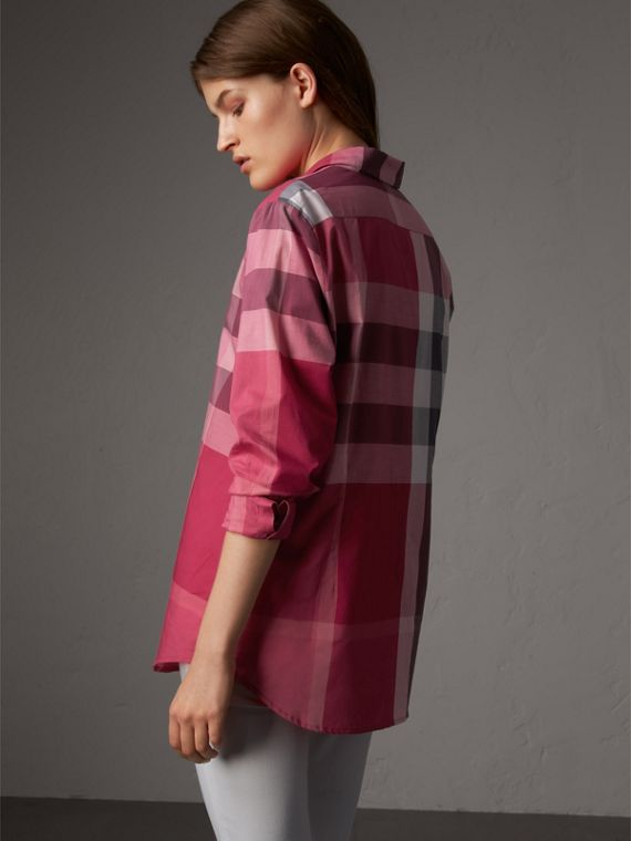 Check Cotton Shirt in Crimson Pink - Women | Burberry - cell image 2