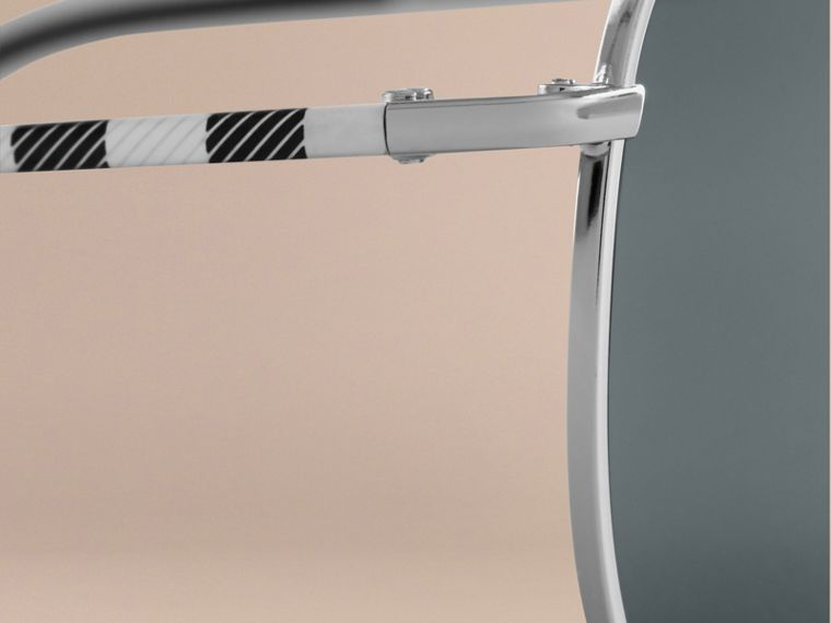Silver Check Arm Aviator Sunglasses Silver - cell image 1