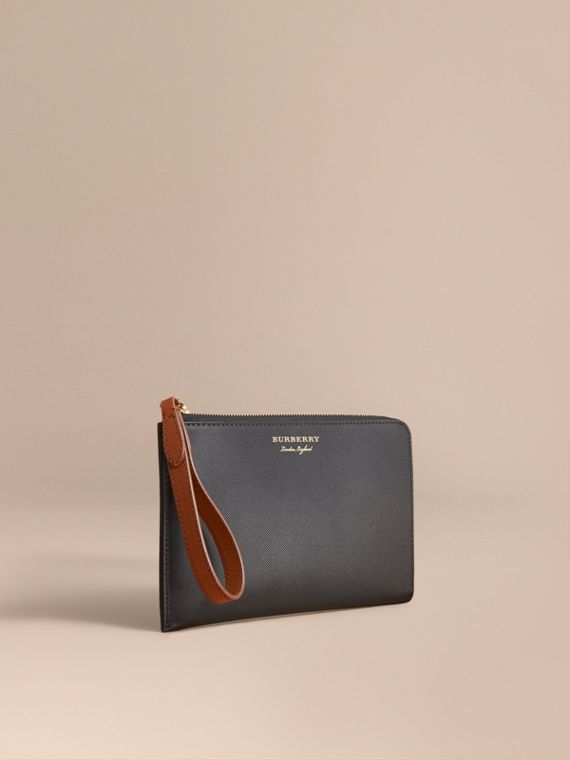Two-tone Trench Leather Travel Wallet in Black - Men | Burberry Singapore