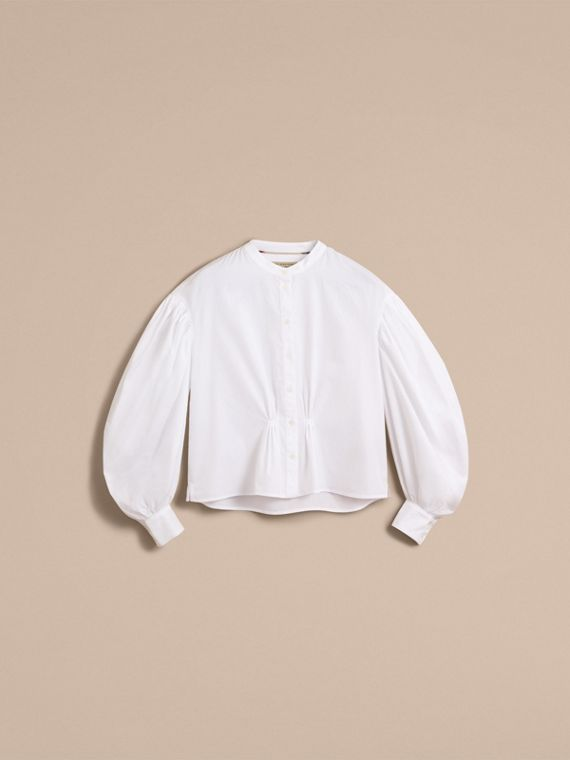 Puff-sleeve Cotton Shirt in White - Women | Burberry - cell image 3