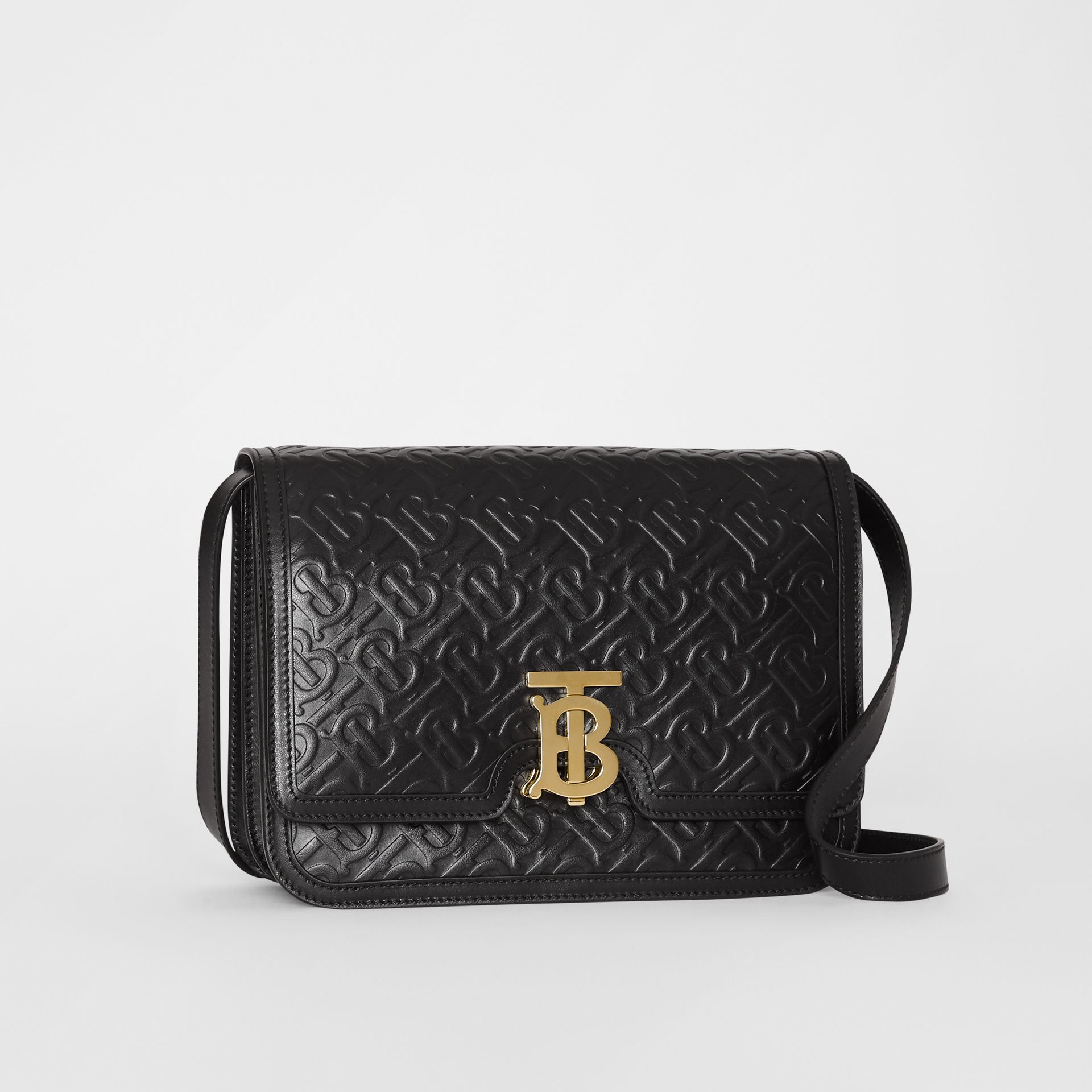Medium Monogram Leather TB Bag in Black - Women | Burberry - gallery image 6