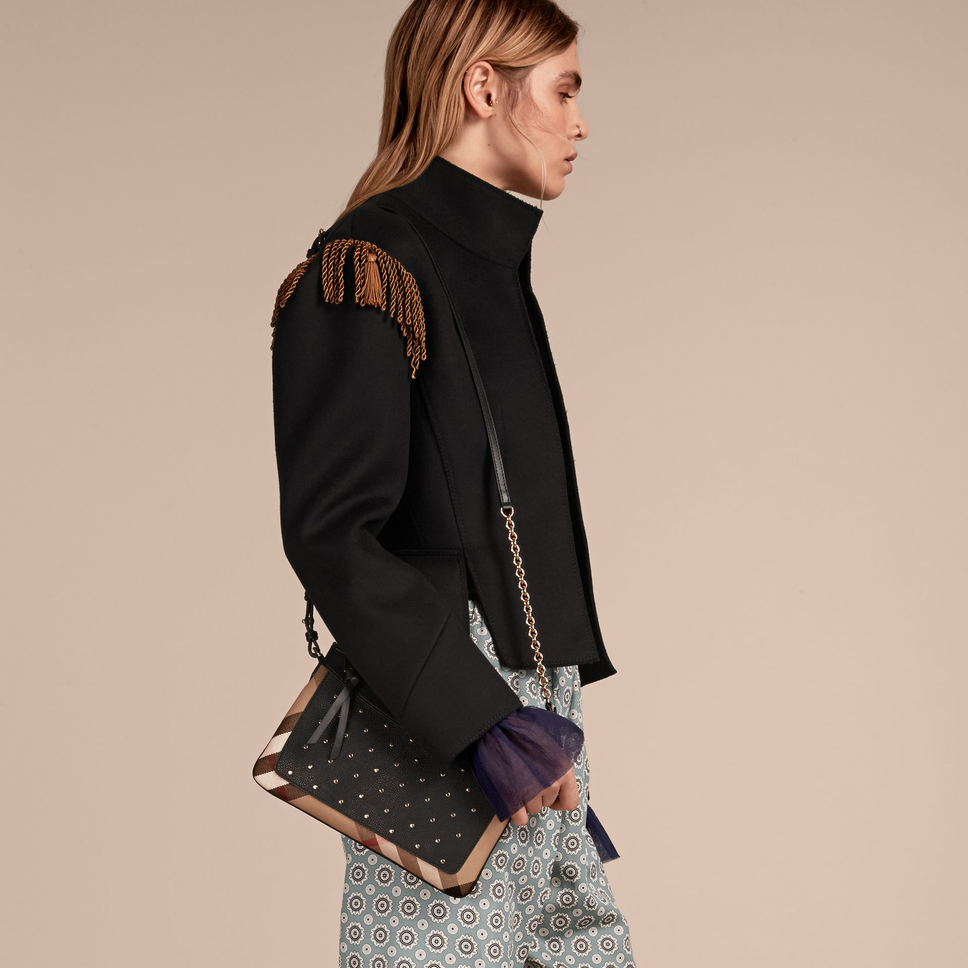 Riveted Leather and House Check Clutch Bag in Black - gallery image 3