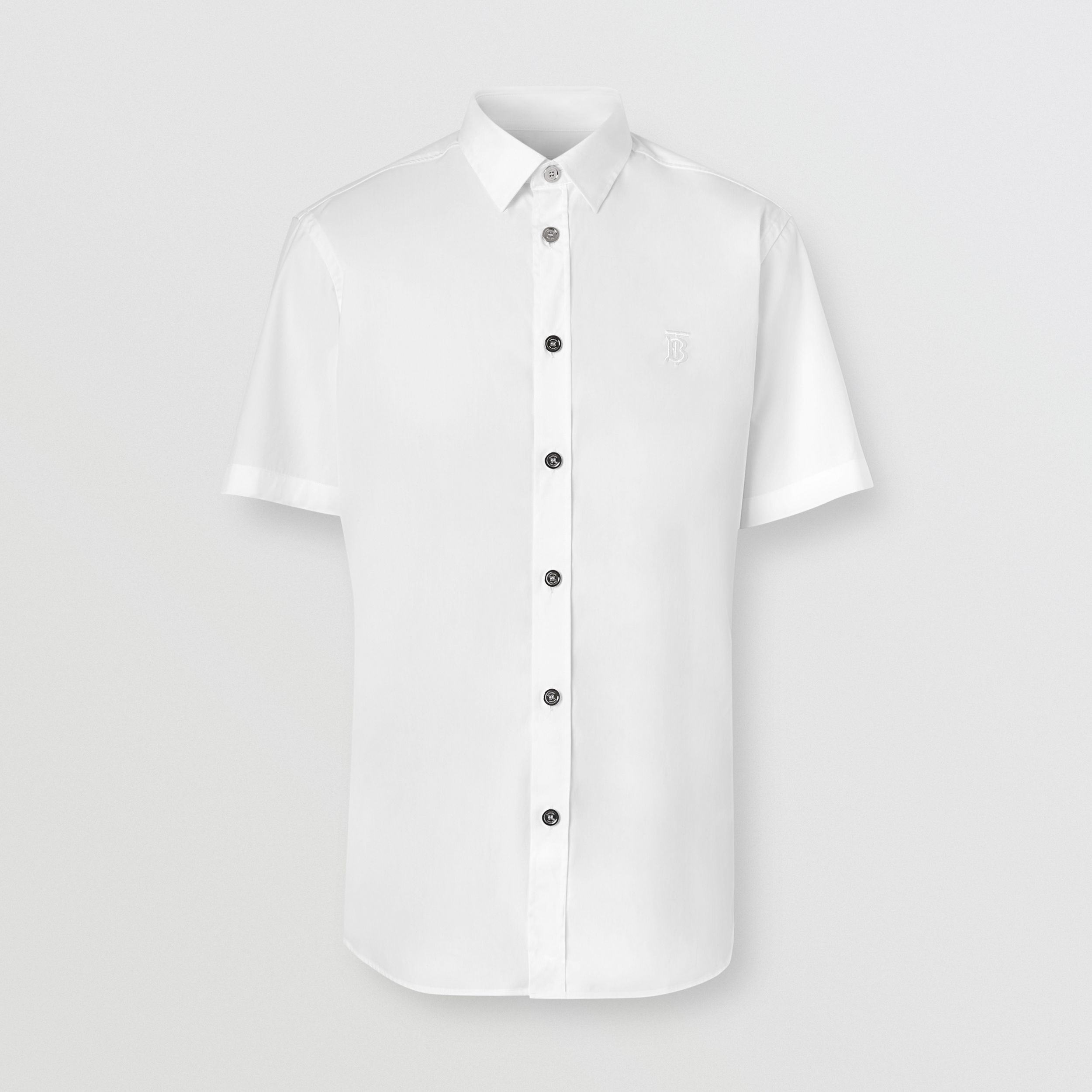 Short-sleeve Monogram Motif Stretch Cotton Shirt in White - Men | Burberry - 4