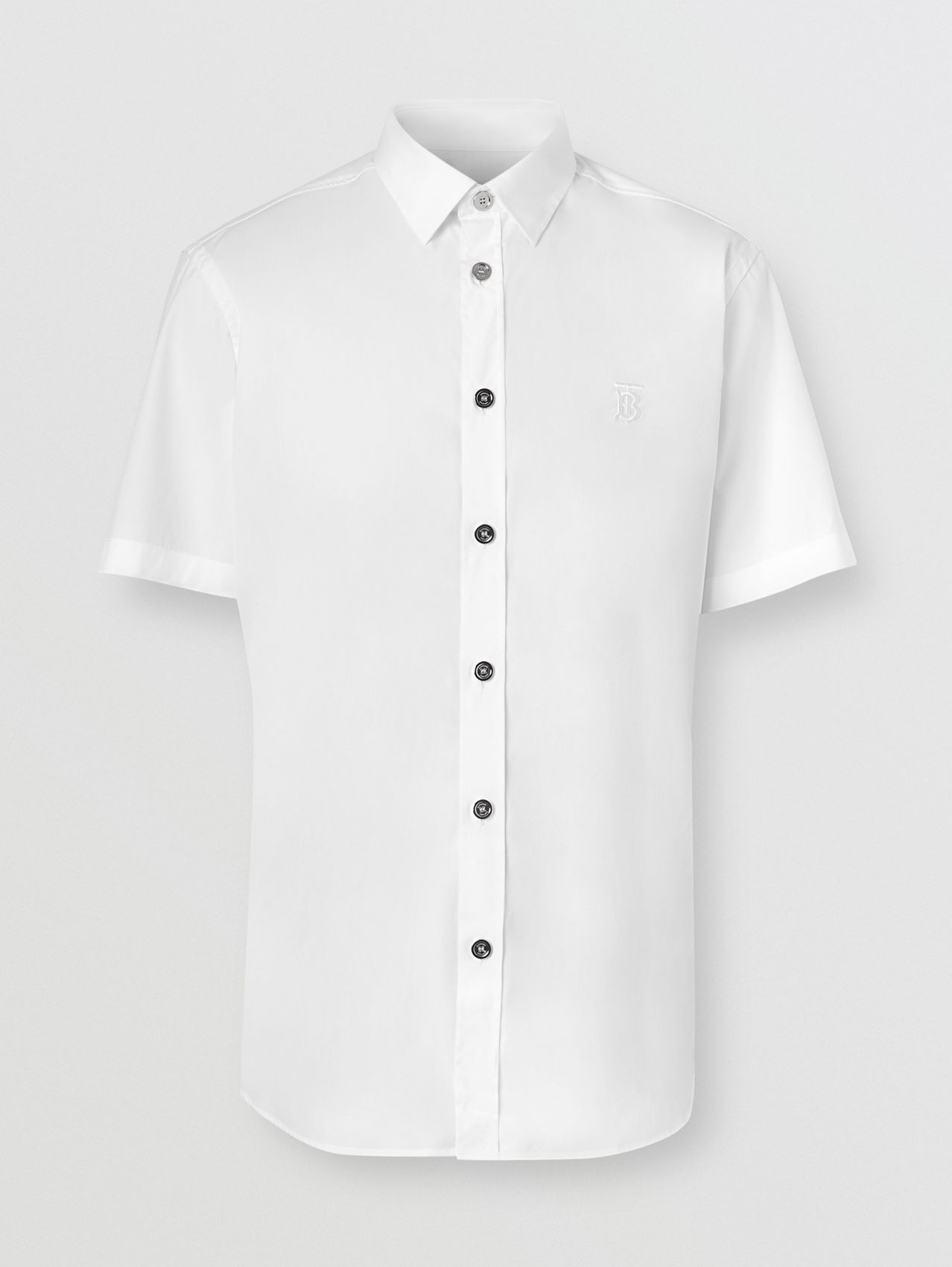 Short-sleeve Monogram Motif Stretch Cotton Shirt in White