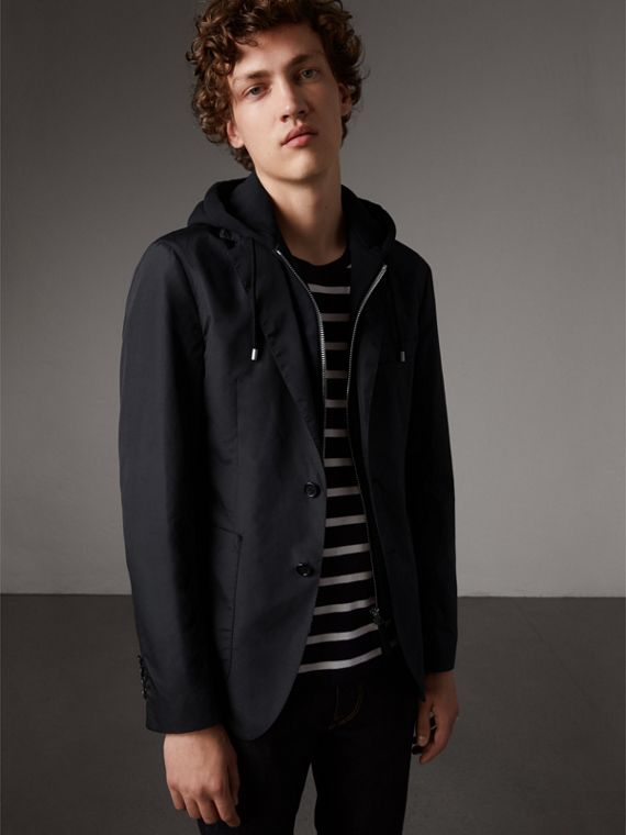 Tailored Jacket with Detachable Hooded Warmer in Black