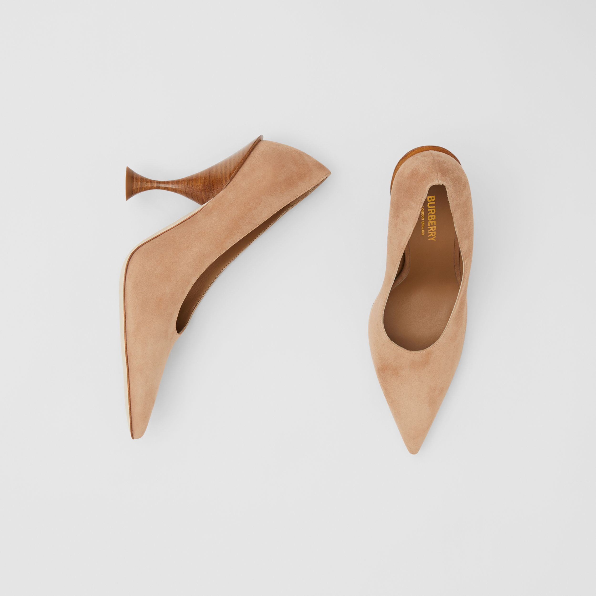 Suede Point-toe Pumps in Warm Camel - Women | Burberry - 1