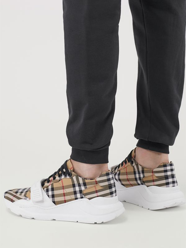 Vintage Check Cotton Sneakers in Antique Yellow - Men | Burberry - cell image 2
