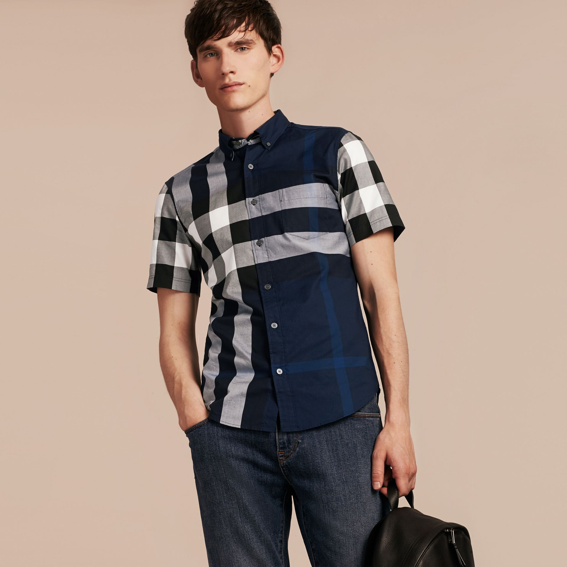 Indigo blue Short-sleeved Check Cotton Shirt Indigo Blue - gallery image 6