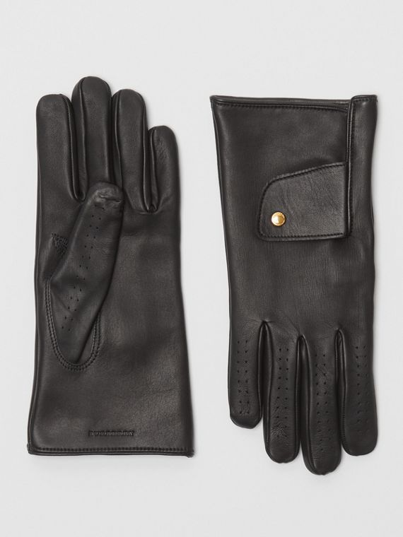 Cashmere-lined Lambskin Gloves in Black