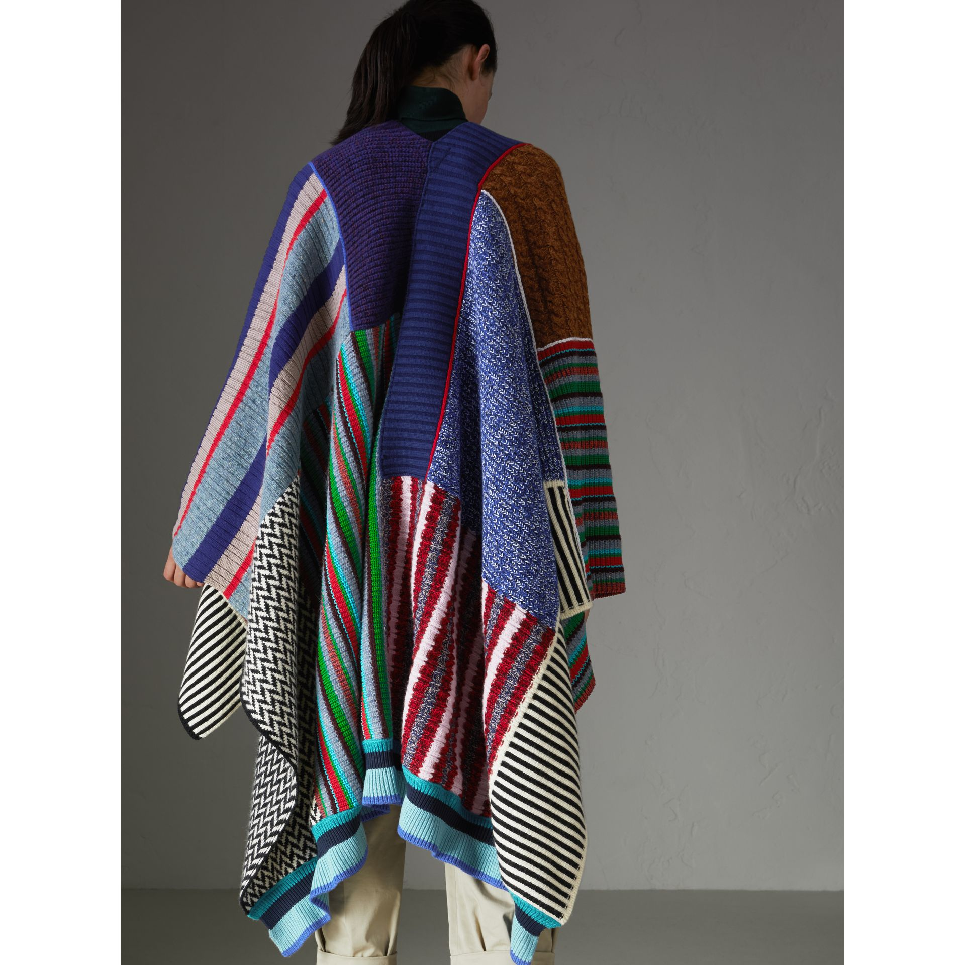 Wool Cashmere Blend Patchwork Poncho in Multicolour - Women | Burberry United States - gallery image 2
