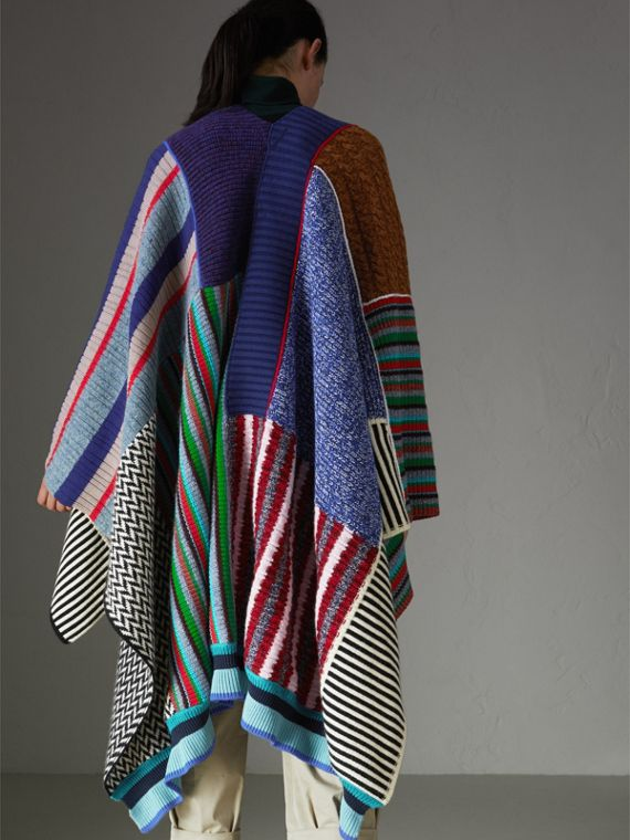 Wool Cashmere Blend Patchwork Poncho in Multicolour - Women | Burberry - cell image 2