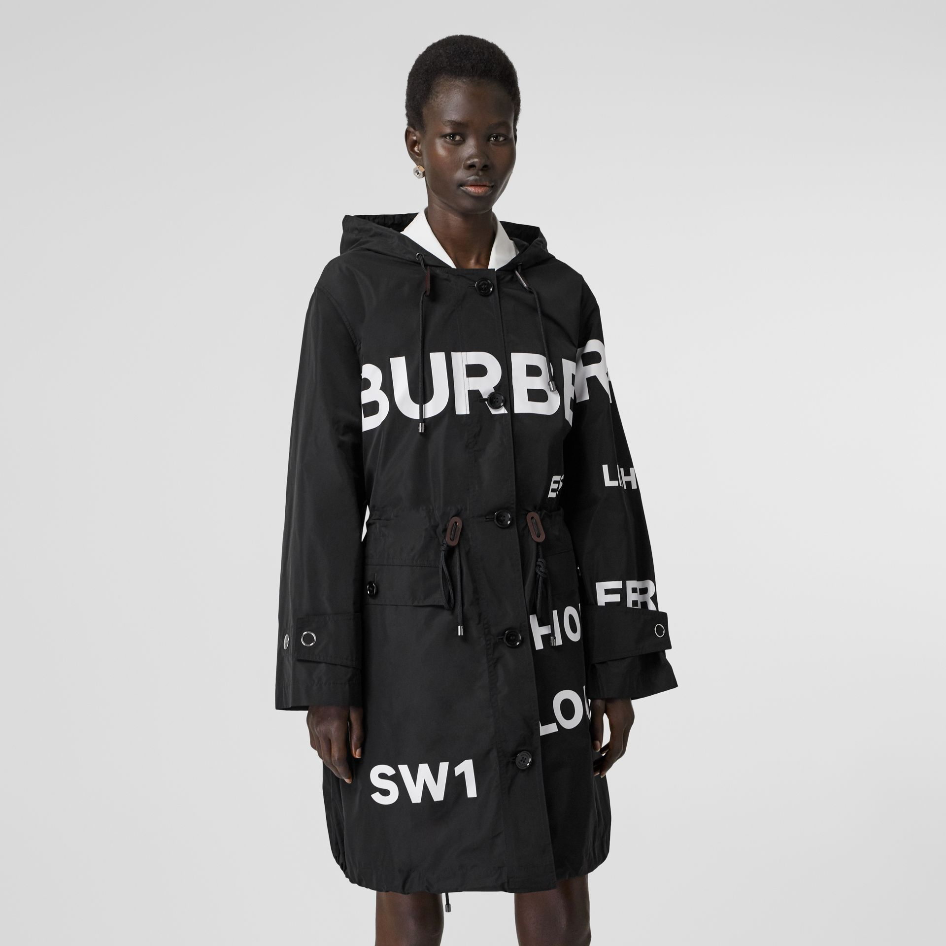Horseferry Print Nylon Parka in Black - Women | Burberry - gallery image 5