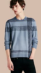Abstract Check Merino Wool Sweater