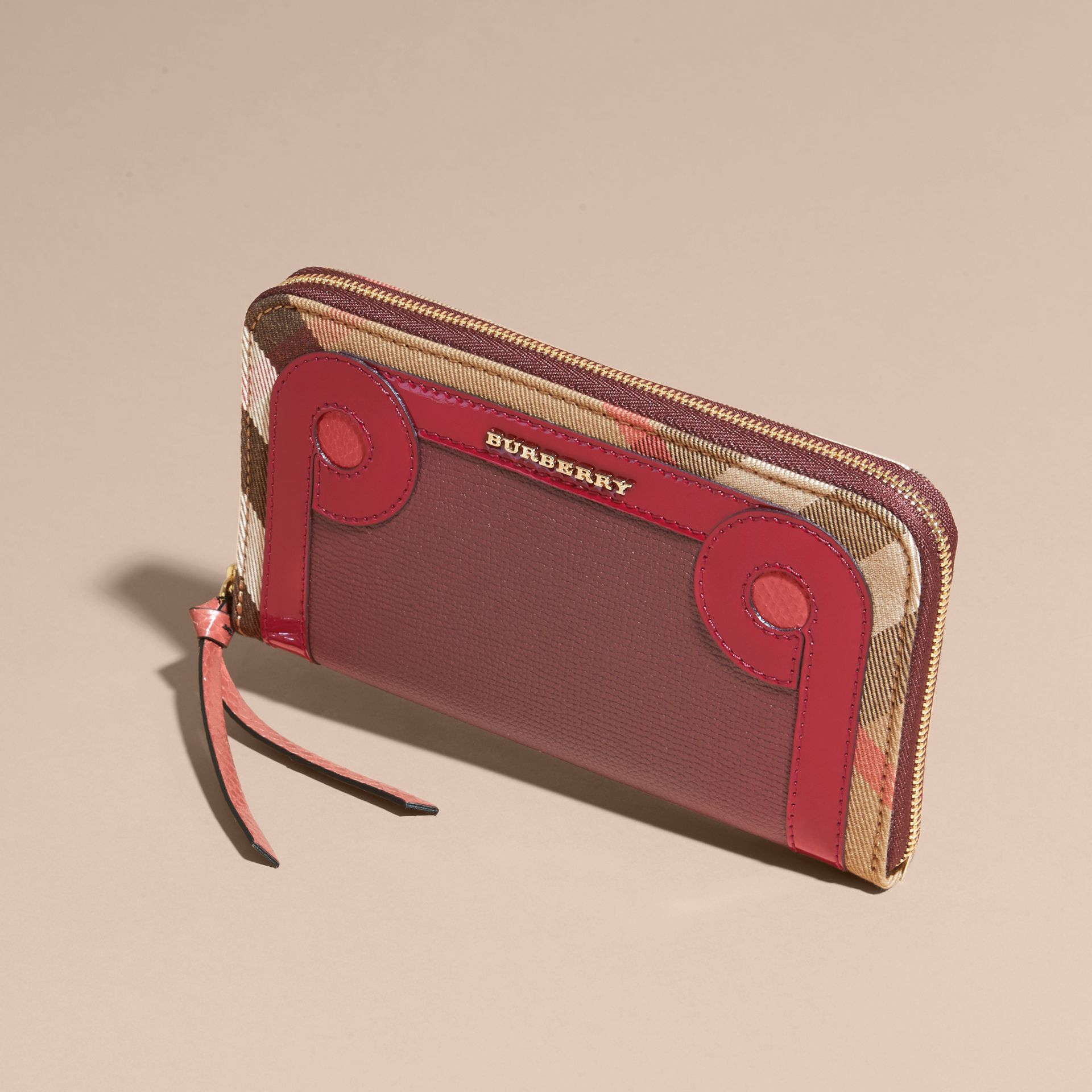 Snakeskin and House Check Ziparound Wallet in Mahogany Red - gallery image 3