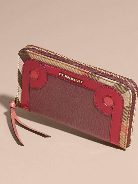 Snakeskin and House Check Ziparound Wallet in Mahogany Red - cell image 2
