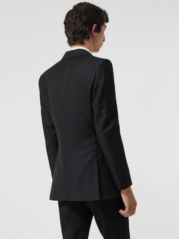 Slim Fit Wool Mohair Tailored Jacket in Black - Men | Burberry - cell image 1