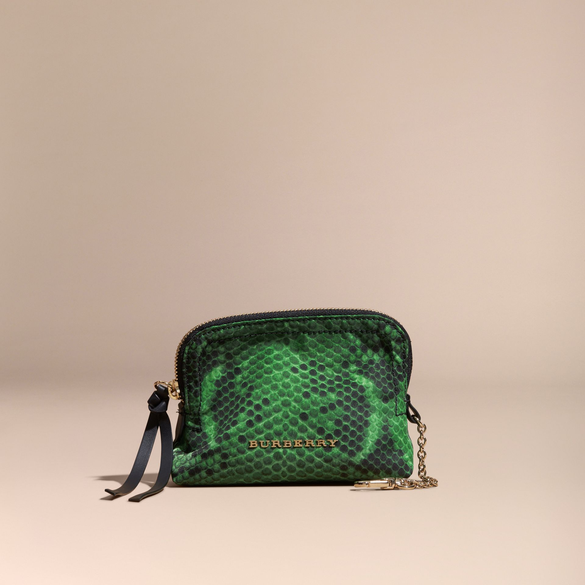 Small Zip-top Python-print Technical Nylon Pouch Bright Green - gallery image 6