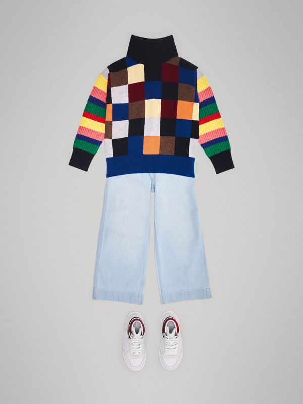 Patchwork Cashmere Roll-neck Sweater in Multicolour | Burberry Singapore - cell image 2