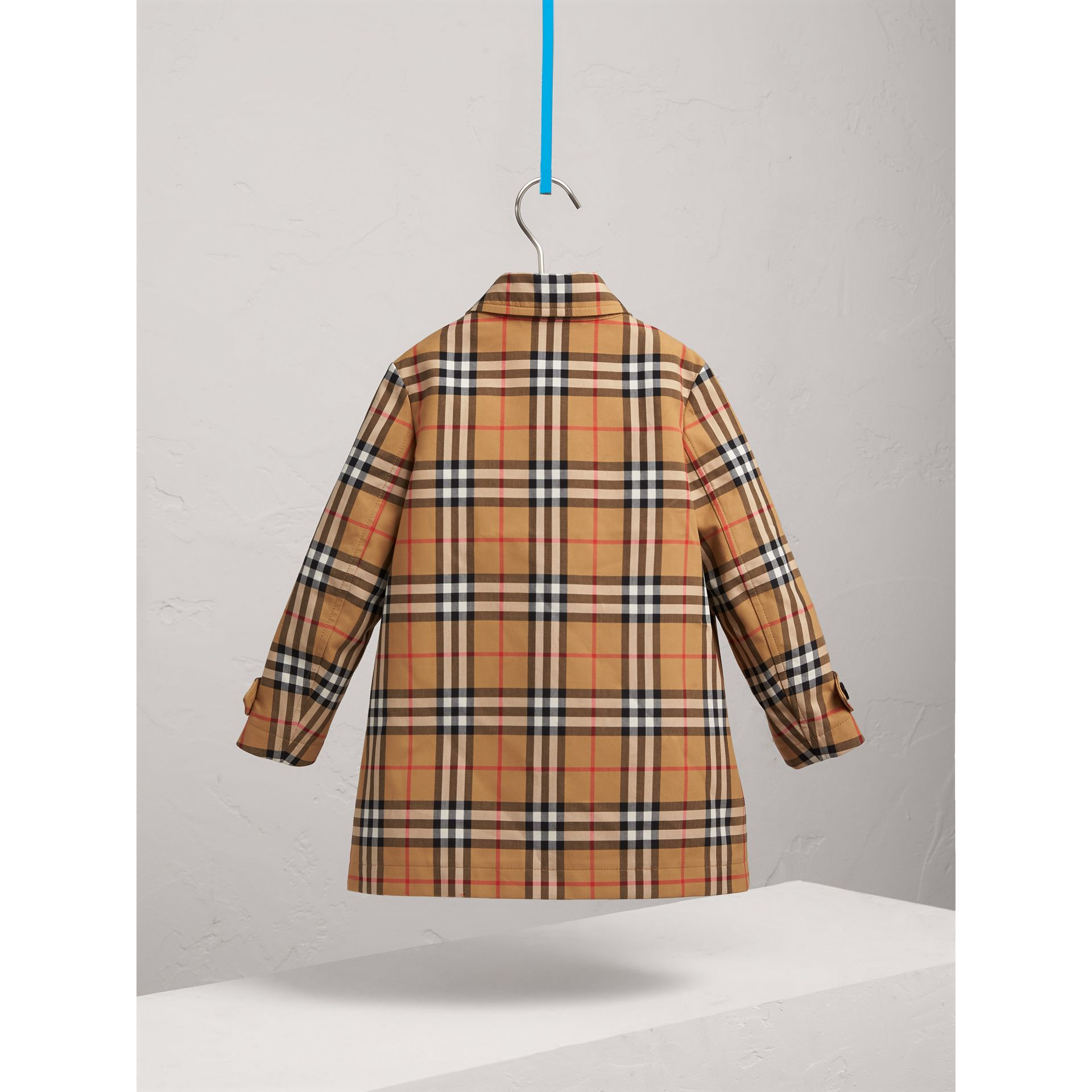 Vintage Check Cotton Car Coat in Antique Yellow - Boy | Burberry - gallery image 3