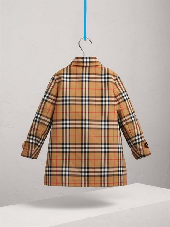 Vintage Check Cotton Car Coat in Antique Yellow - Boy | Burberry - cell image 3