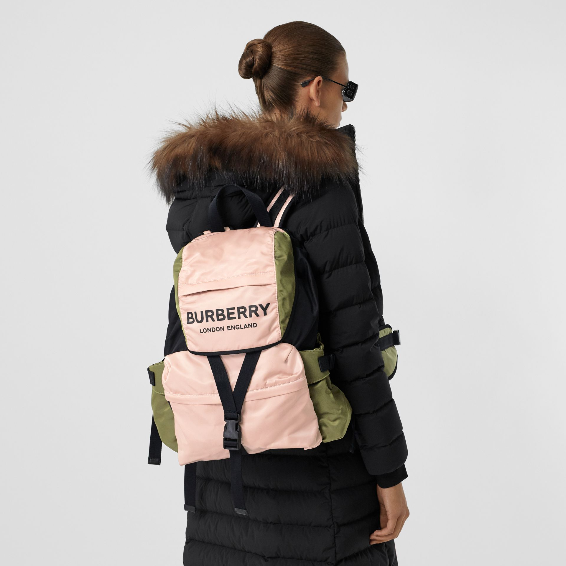 Logo Print Tri-Tone Nylon Backpack in Rose Beige - Women | Burberry - gallery image 2