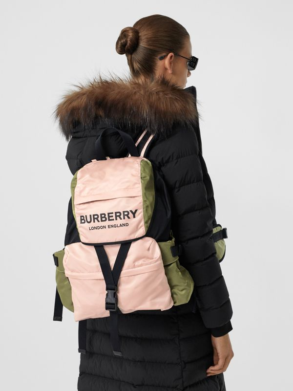 Logo Print Tri-Tone Nylon Backpack in Rose Beige - Women | Burberry - cell image 2