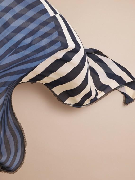 Contrast Stripe Cashmere Silk Scarf - cell image 3