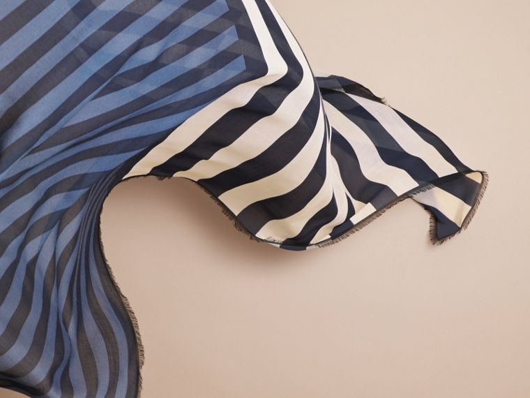 Contrast Stripe Cashmere Silk Scarf in Indigo - Women | Burberry - cell image 4