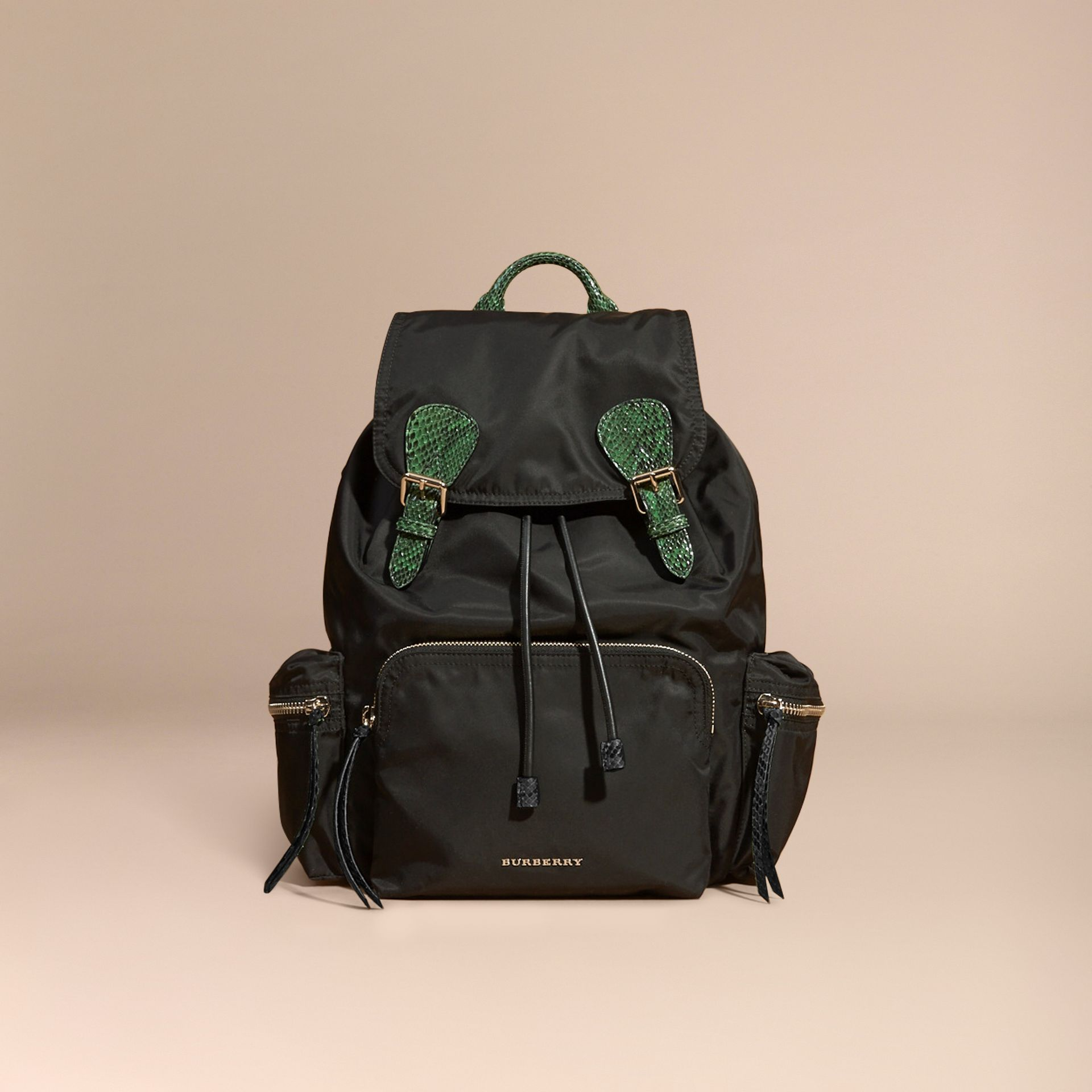 The Large Rucksack in Technical Nylon and Snakeskin Black/bright Green - gallery image 8