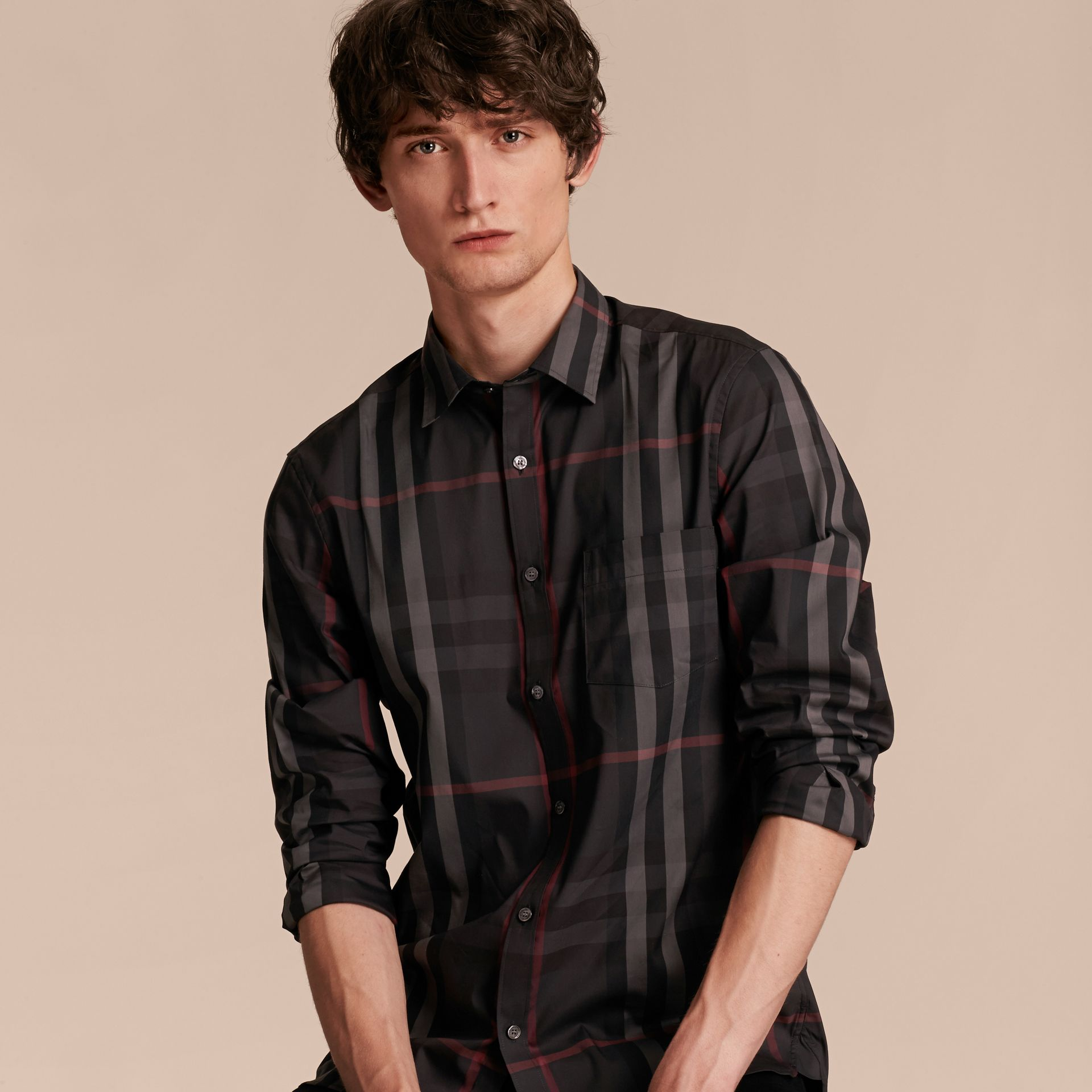 Check Stretch Cotton Shirt in Dark Charcoal - Men | Burberry - gallery image 6
