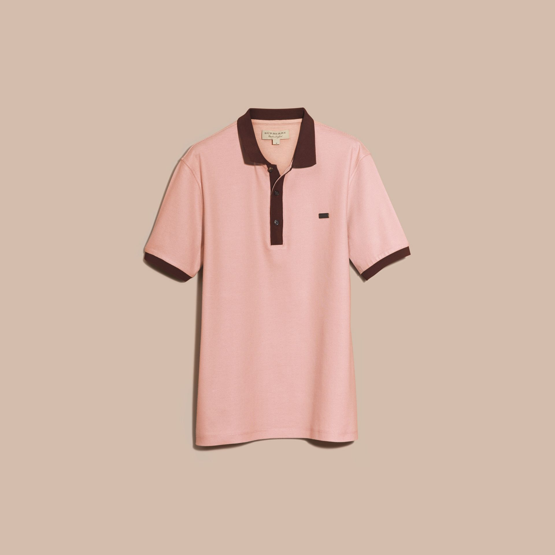 Slate pink/burgundy red Mercerised Cotton Piqué Polo Shirt Slate Pink/burgundy Red - gallery image 3