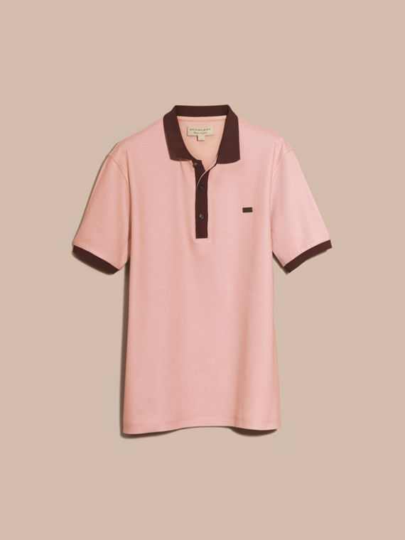 Slate pink/burgundy red Mercerised Cotton Piqué Polo Shirt Slate Pink/burgundy Red - cell image 2