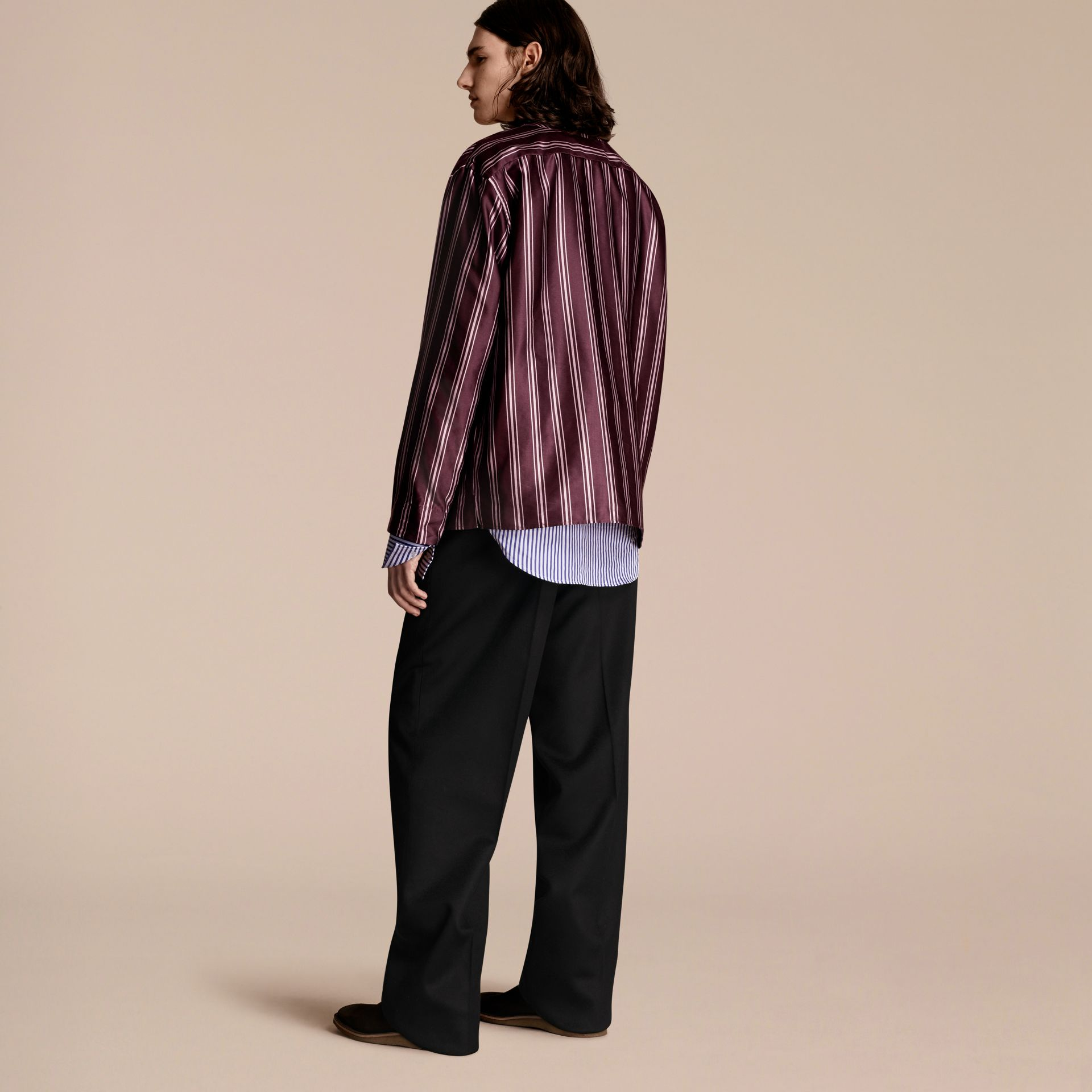 Crimson Striped Cotton Silk Collarless Shirt - gallery image 3