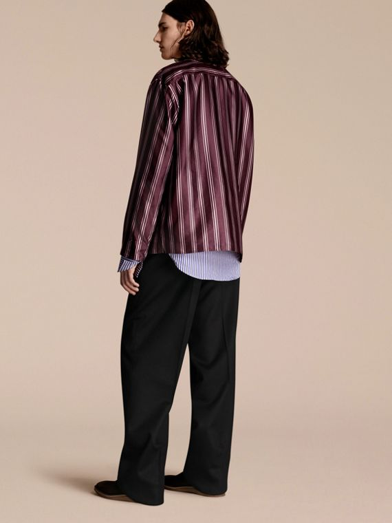 Crimson Striped Cotton Silk Collarless Shirt - cell image 2