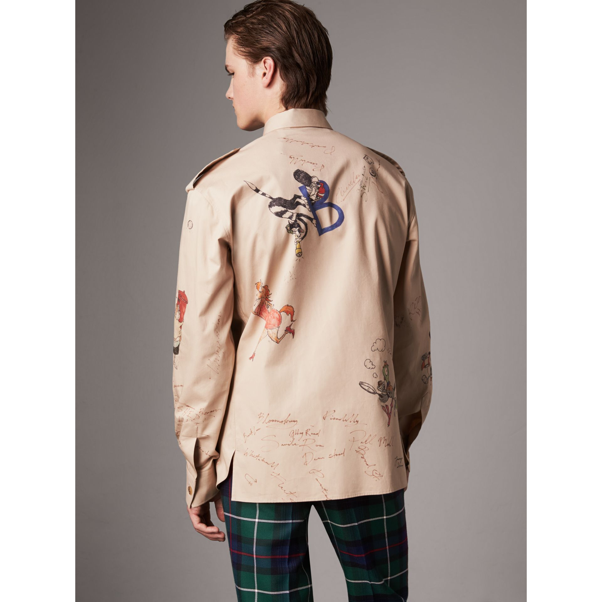 Sketch Print Cotton Army Shirt in Sand - Men | Burberry United Kingdom - gallery image 2