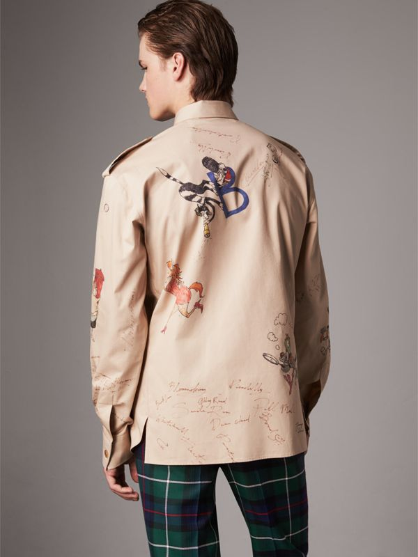 Sketch Print Cotton Army Shirt in Sand - Men | Burberry - cell image 2