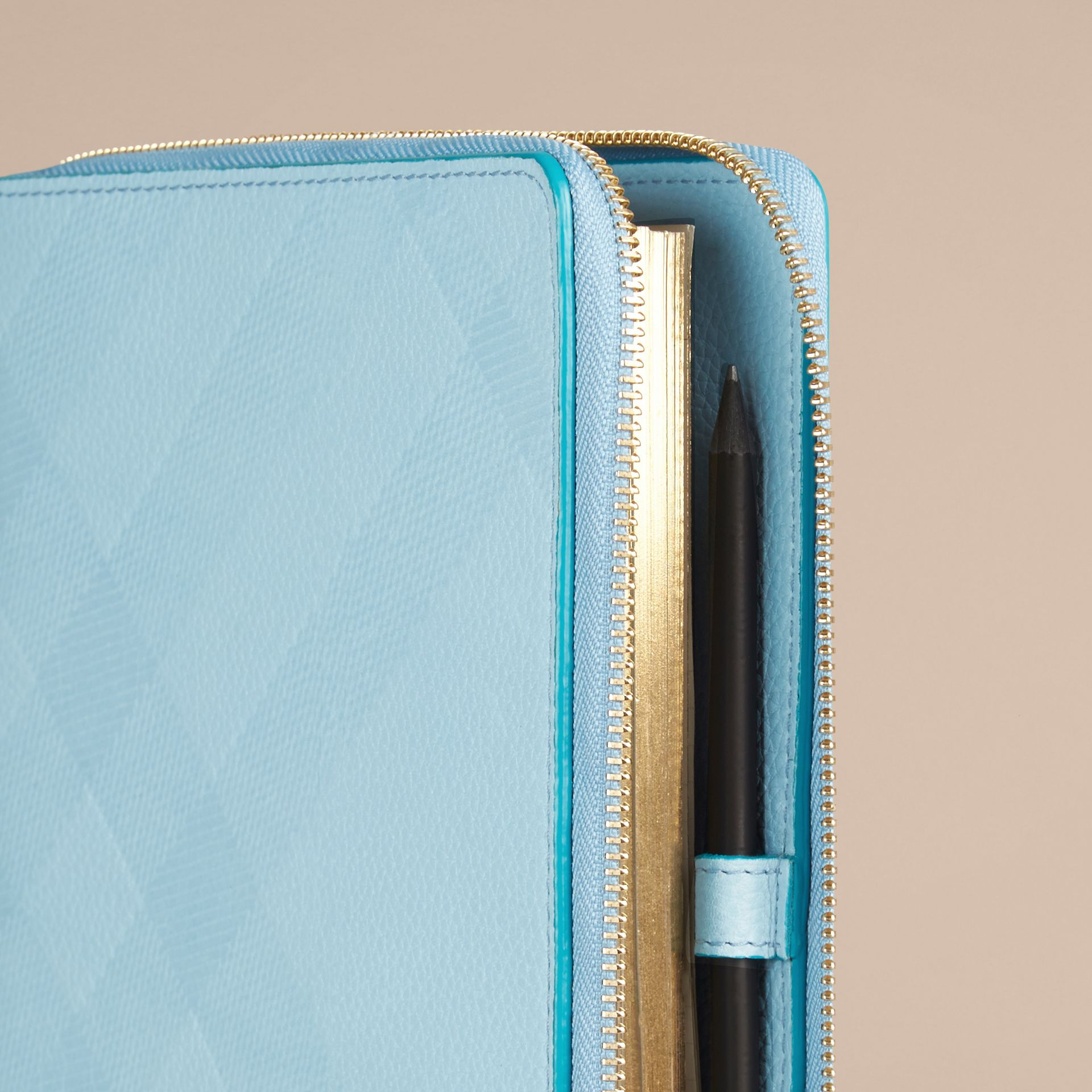 Bright mineral blue Ziparound Check-Embossed Leather A5 Notebook Bright Mineral Blue - gallery image 2