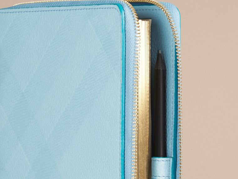 Bright mineral blue Ziparound Check-Embossed Leather A5 Notebook Bright Mineral Blue - cell image 1