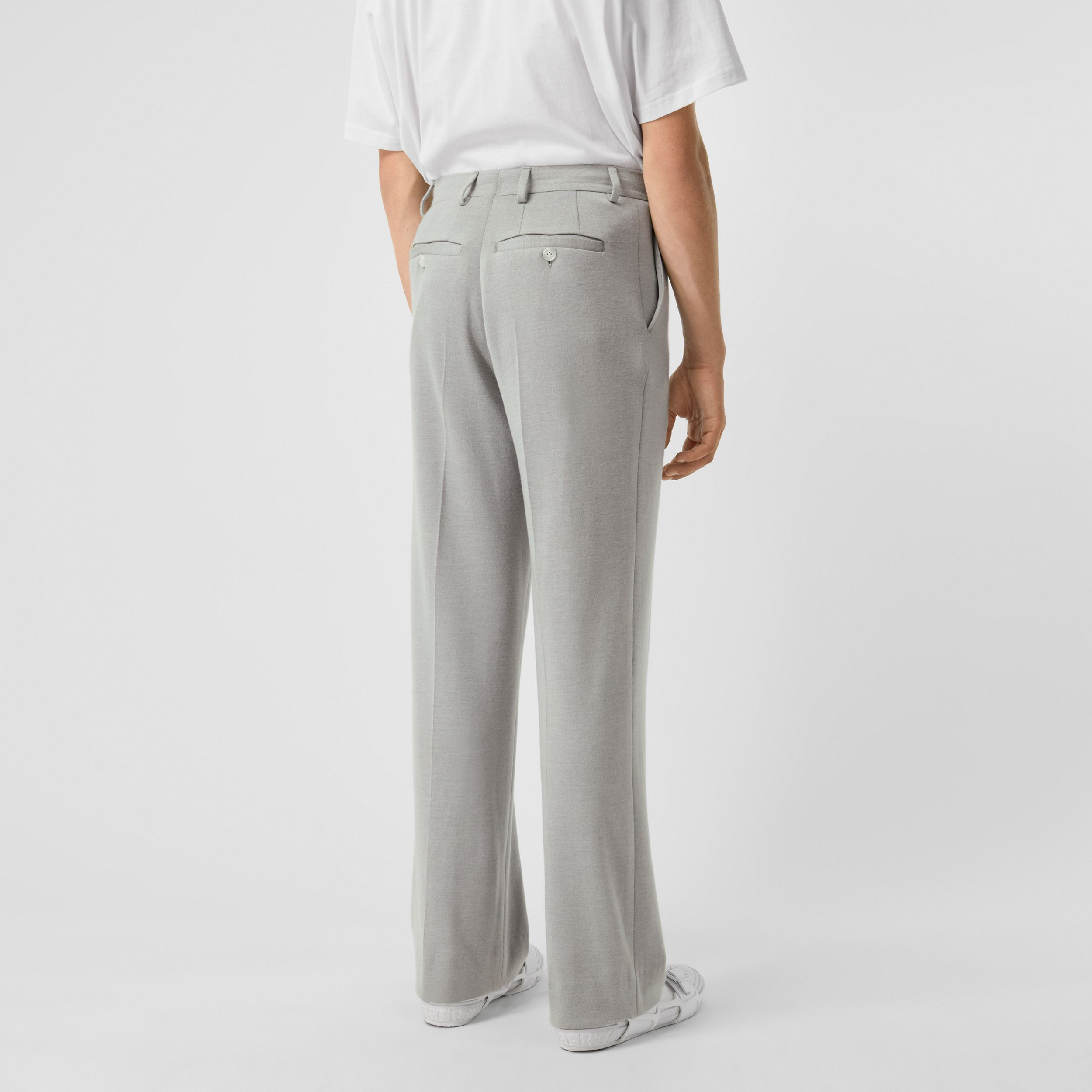 Cashmere Silk Jersey Wide-leg Trousers in Light Pebble Grey - Men | Burberry Singapore - 3