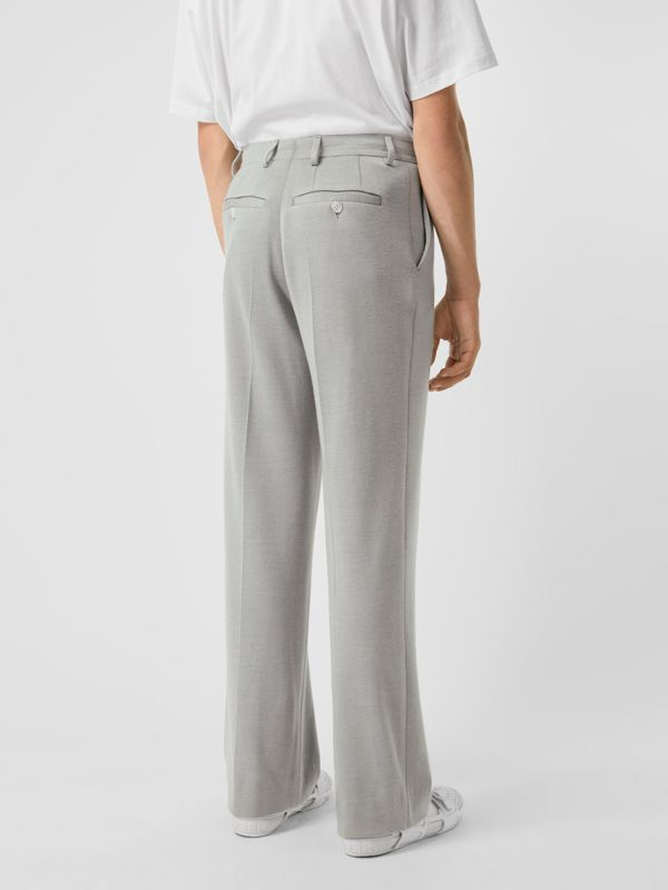 Cashmere Silk Jersey Wide-leg Trousers in Light Pebble Grey | Burberry - cell image 2