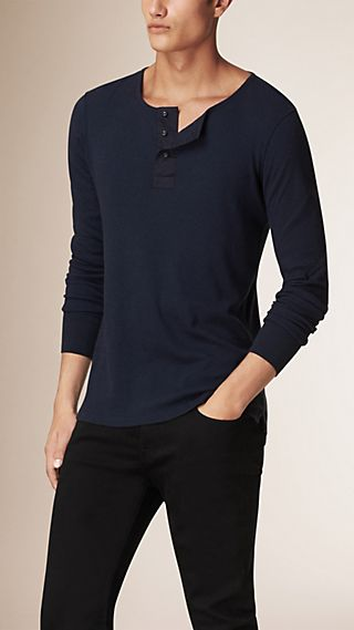 Long-sleeved Cotton Wool Henley