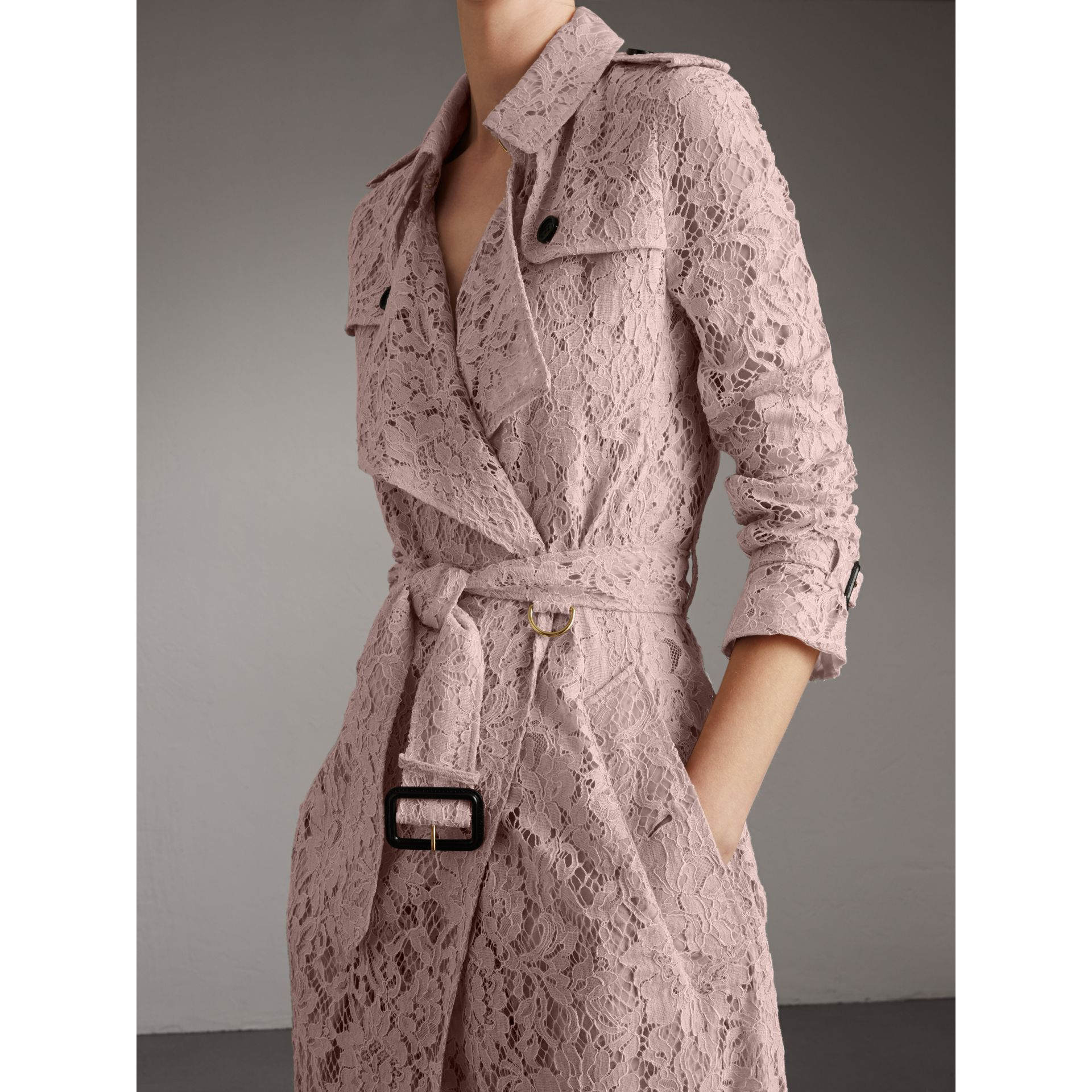 Macramé Lace Wrap Trench Coat in Nude - Women | Burberry United States - gallery image 4