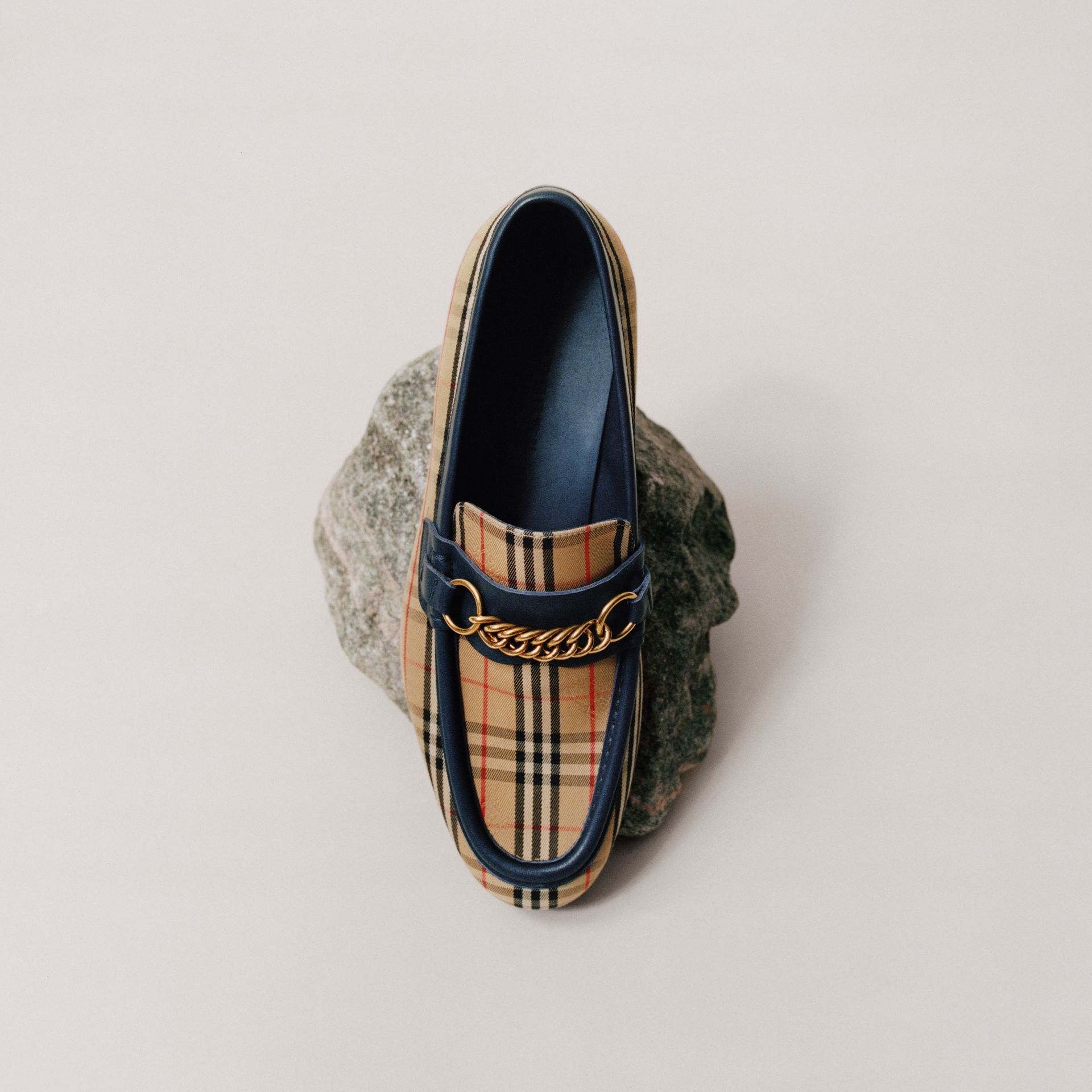 The 1983 Check Link Loafer in Ink Blue - Men | Burberry United Kingdom - gallery image 1