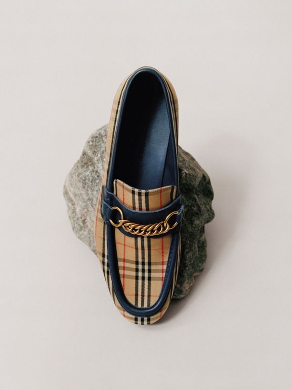 The 1983 Check Link Loafer in Ink Blue - Men | Burberry United Kingdom - cell image 1