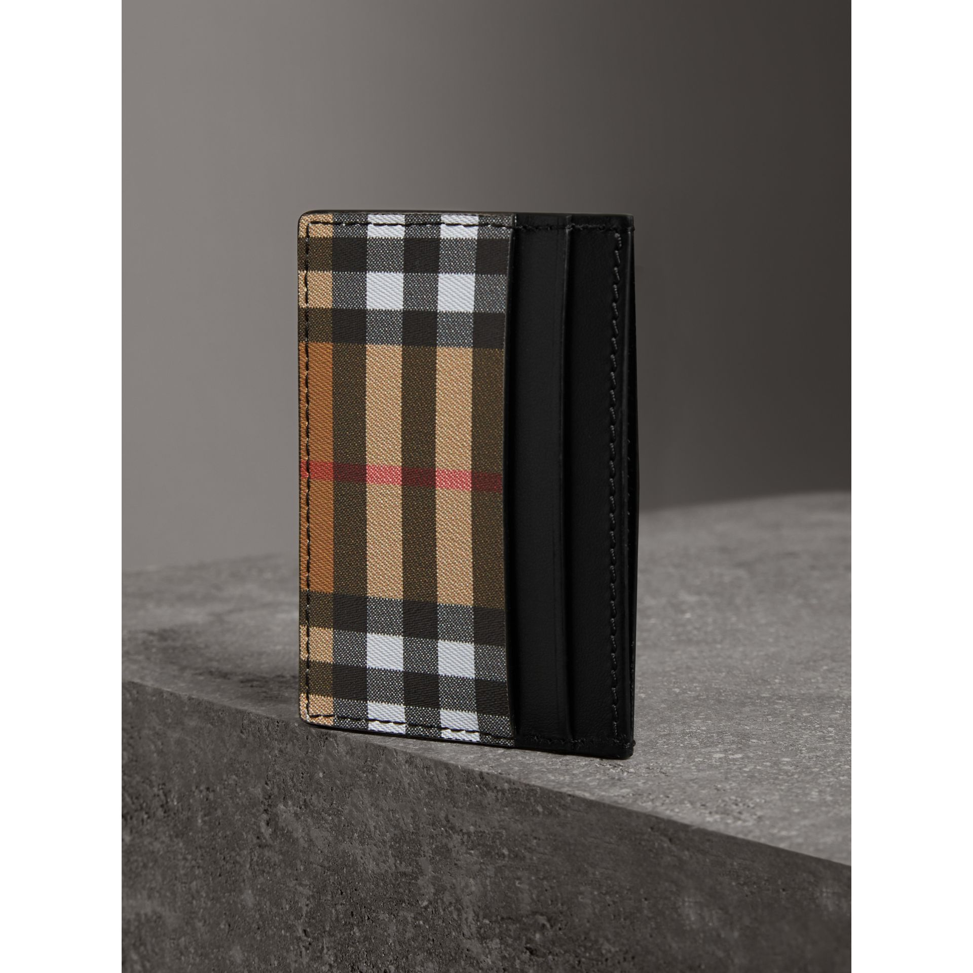 Vintage Check and Leather Card Case in Black | Burberry United States - gallery image 2